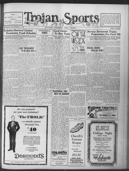 Daily Trojan, Vol. 20, No. 35, November 01, 1928