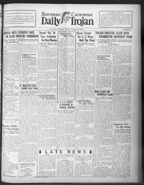 Daily Trojan, Vol. 20, No. 91, February 26, 1929