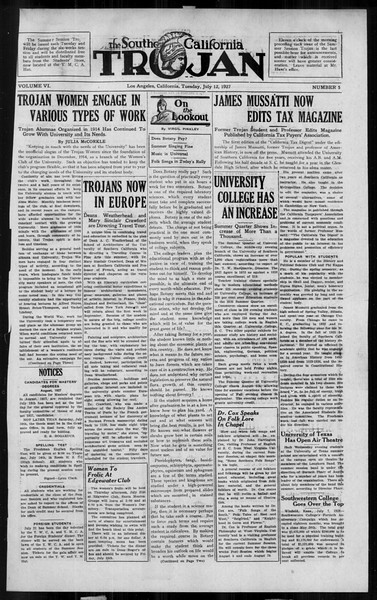 The Southern California Trojan, Vol. 6, No. 5, July 12, 1927