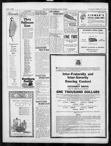 Daily Trojan, Vol. 19, No. 80, February 16, 1928