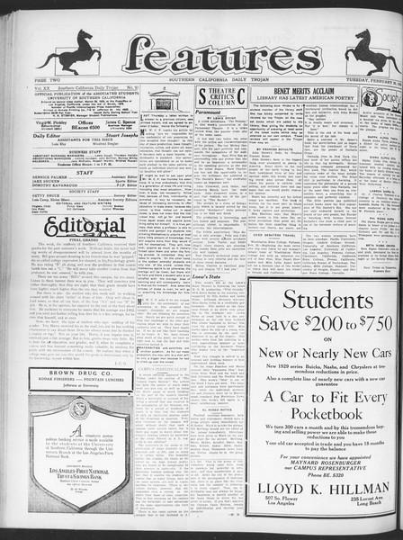 Daily Trojan, Vol. 20, No. 91, February 26, 1929