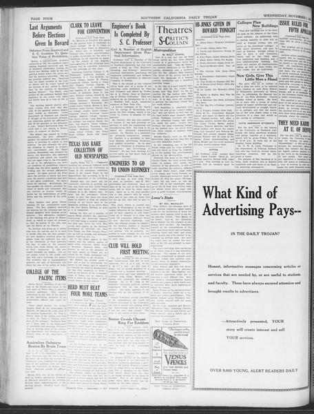 Daily Trojan, Vol. 20, No. 39, November 07, 1928