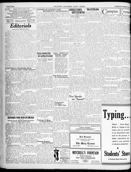 Southern California Daily Trojan, Vol. 21, No. 99, March 11, 1930