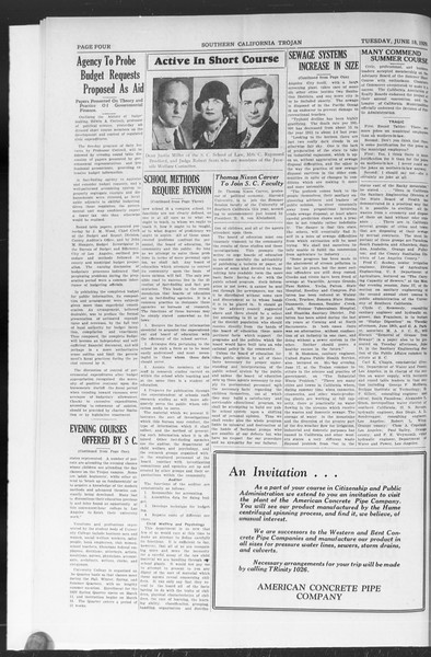 The Southern California Trojan: School of Citizenship and Public Administration, Vol. 2, No. 3, June 18, 1929