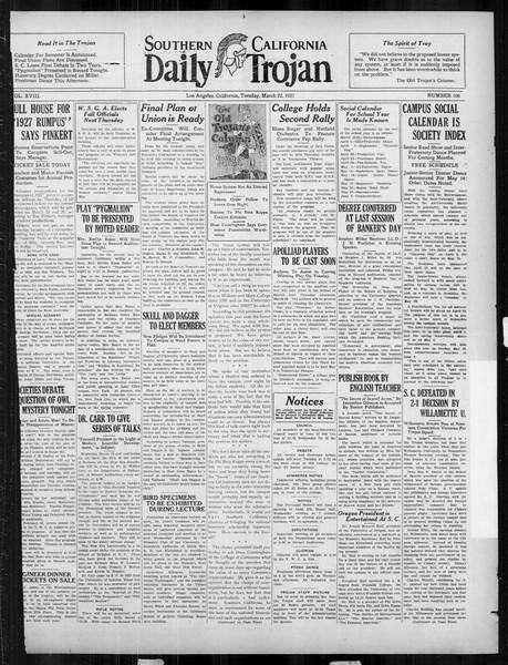 Daily Trojan, Vol. 18, No. 106, March 22, 1927