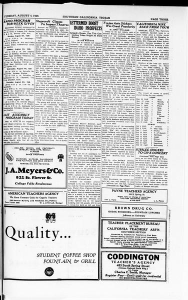 The Southern California Trojan, Vol. 8, No. 11, August 06, 1929