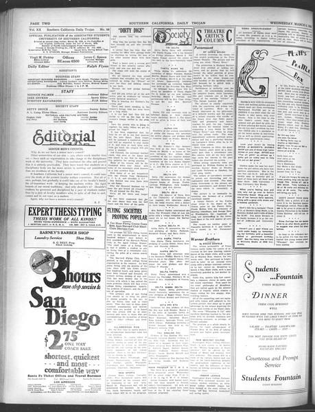 Daily Trojan, Vol. 20, No. 98, March 06, 1929