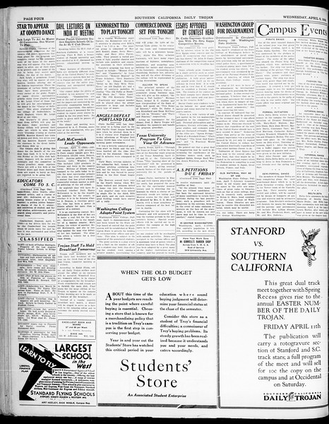 Southern California Daily Trojan, Vol. 21, No. 120, April 09, 1930