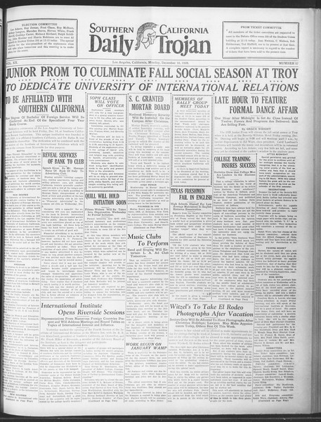 Daily Trojan, Vol. 20, No. 57, December 10, 1928