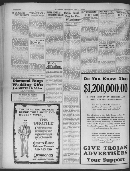 Daily Trojan, Vol. 20, No. 131, May 01, 1929
