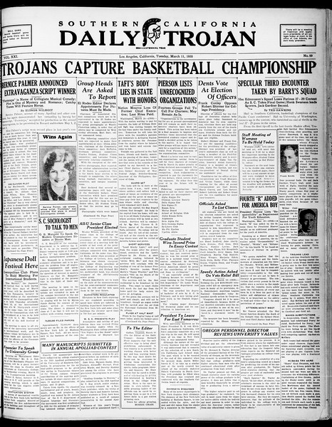 Southern California Daily Trojan, Vol. 21, No. 99, March 11, 1930