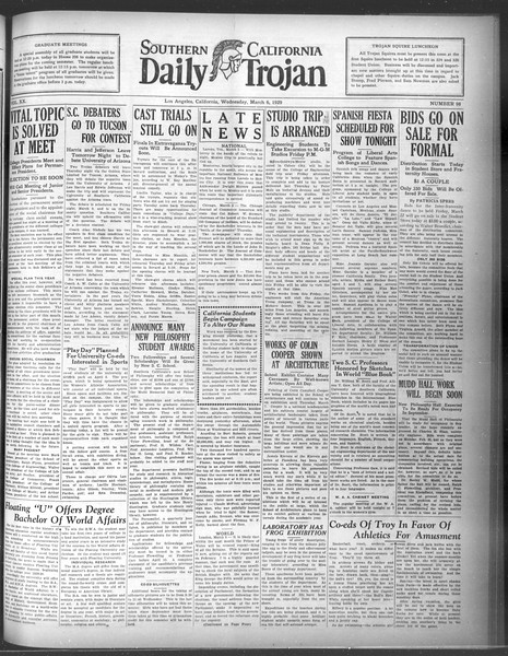 Daily Trojan, Vol. 20, No. 98, March 06, 1929