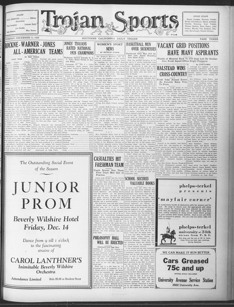 Daily Trojan, Vol. 20, No. 58, December 11, 1928