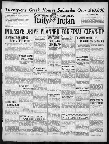 Daily Trojan, Vol. 19, No. 70, January 23, 1928