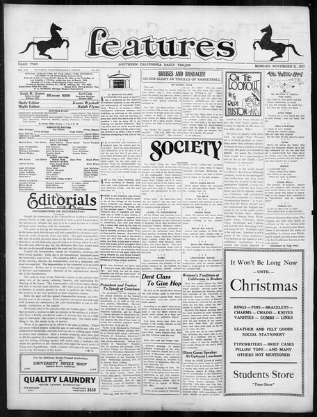Daily Trojan, Vol. 19, No. 44, November 21, 1927