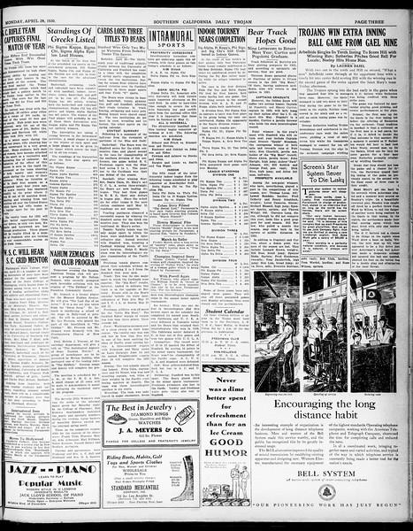 Southern California Daily Trojan, Vol. 21, No. 126, April 28, 1930