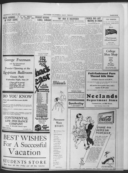 Daily Trojan, Vol. 20, No. 151, May 29, 1929