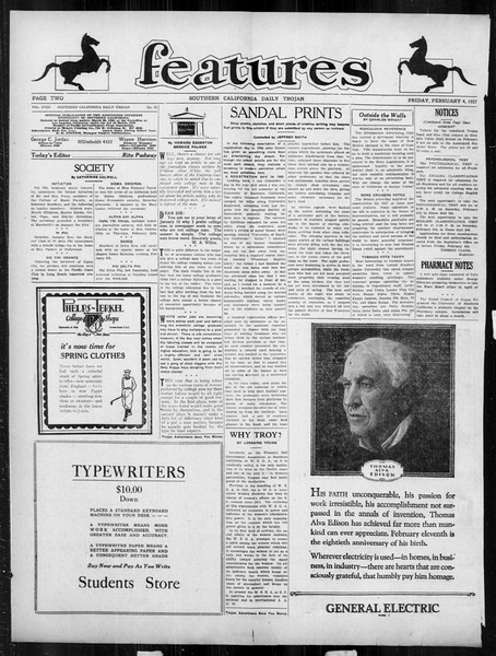 Daily Trojan, Vol. 18, No. 75, February 04, 1927