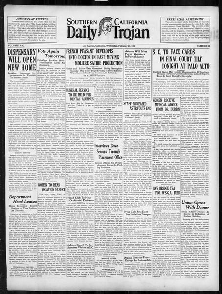 Daily Trojan, Vol. 19, No. 88, February 29, 1928
