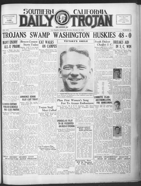 Southern California Daily Trojan, Vol. 21, No. 20, October 14, 1929