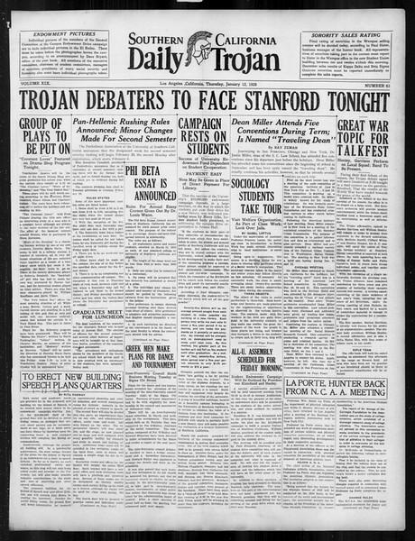 Daily Trojan, Vol. 19, No. 63, January 12, 1928