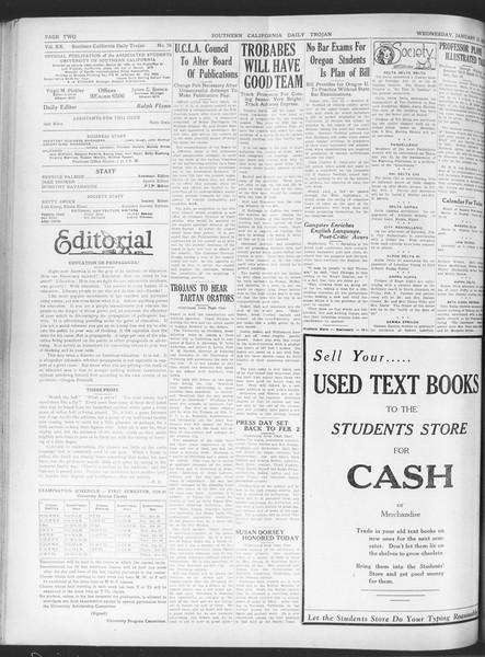 Daily Trojan, Vol. 20, No. 76, January 23, 1929