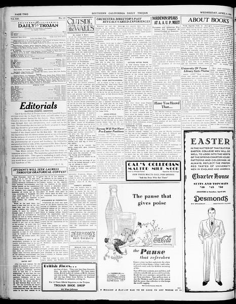 Southern California Daily Trojan, Vol. 21, No. 120, April 09, 1930