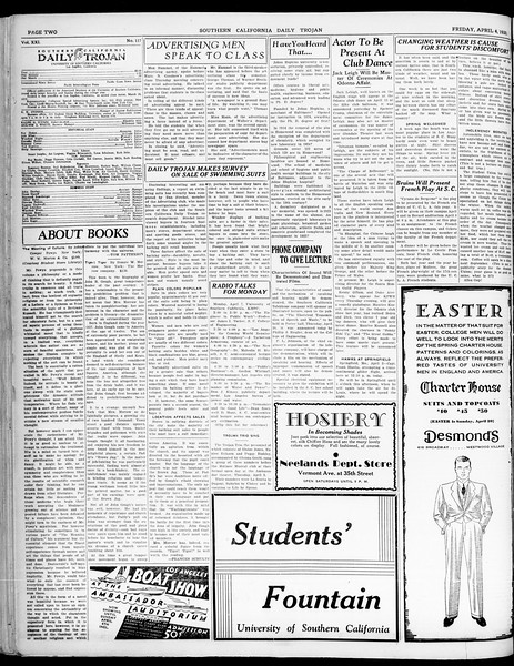 Southern California Daily Trojan, Vol. 21, No. 117, April 04, 1930