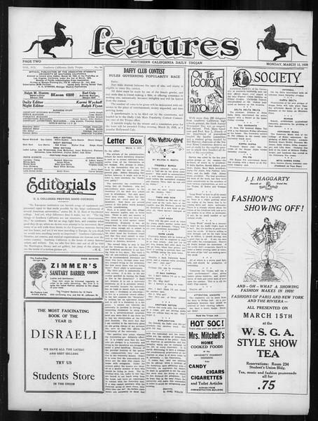 Daily Trojan, Vol. 19, No. 96, March 12, 1928