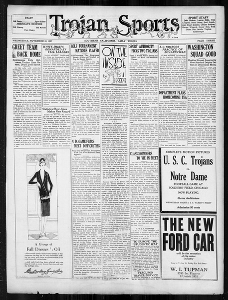 Daily Trojan, Vol. 19, No. 48, November 30, 1927