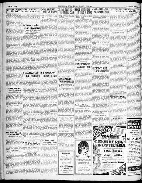 Southern California Daily Trojan, Vol. 21, No. 132, May 06, 1930