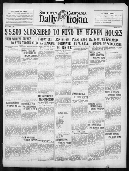 Daily Trojan, Vol. 19, No. 72, January 25, 1928