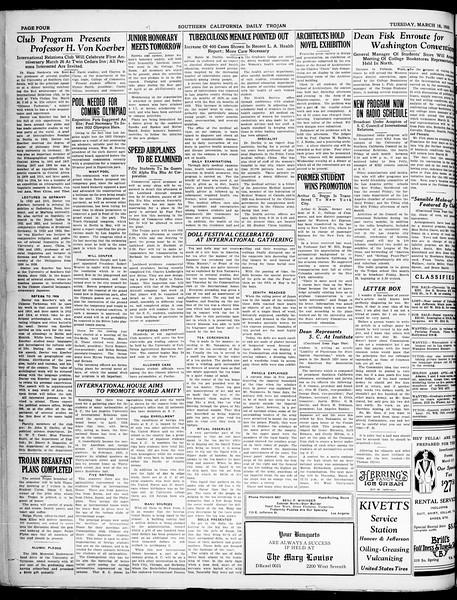Southern California Daily Trojan, Vol. 21, No. 104, March 18, 1930