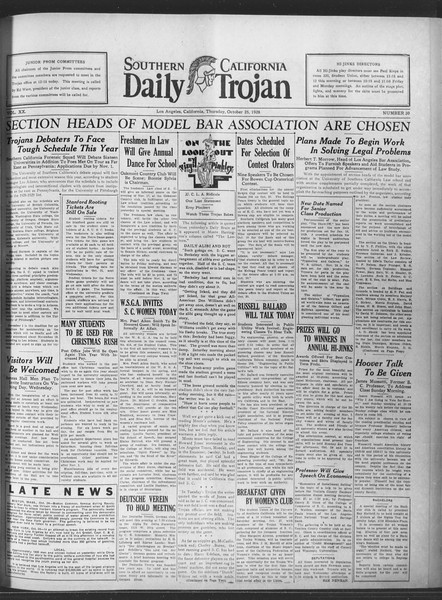 Daily Trojan, Vol. 20, No. 30, October 25, 1928