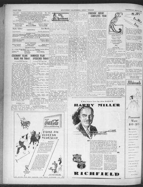 Daily Trojan, Vol. 20, No. 142, May 16, 1929
