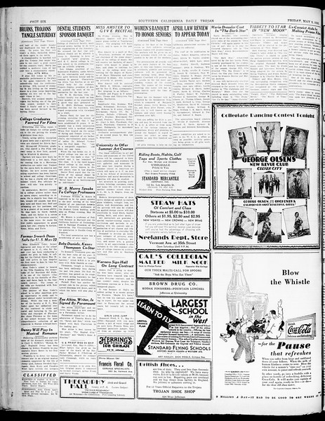 Southern California Daily Trojan, Vol. 21, No. 135, May 09, 1930