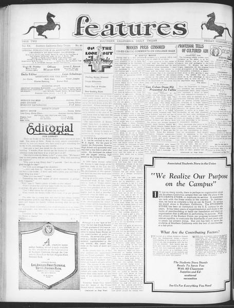 Daily Trojan, Vol. 20, No. 89, February 22, 1929