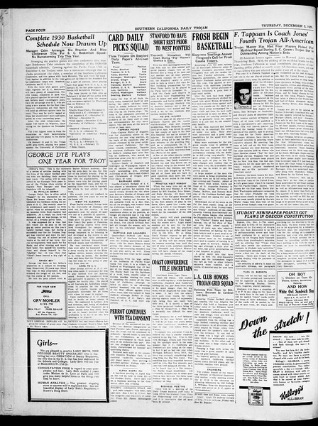 Southern California Daily Trojan, Vol. 21, No. 53, December 05, 1929