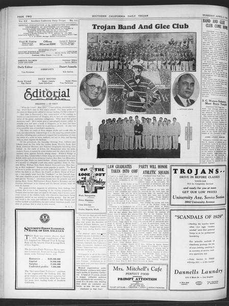 Daily Trojan, Vol. 20, No. 111, April 02, 1929