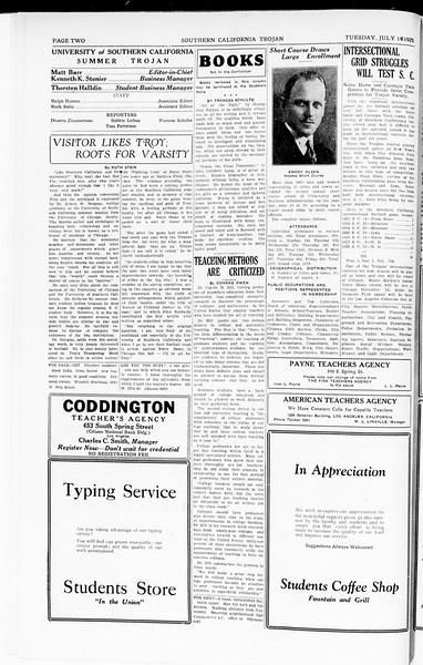 The Southern California Trojan, Vol. 8, No. 5, July 16, 1929