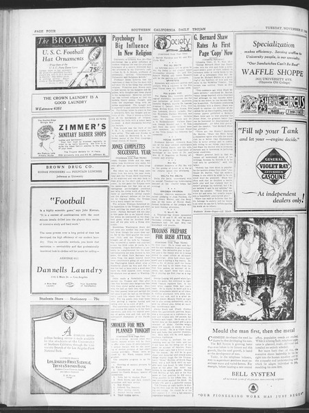 Daily Trojan, Vol. 20, No. 52, November 27, 1928