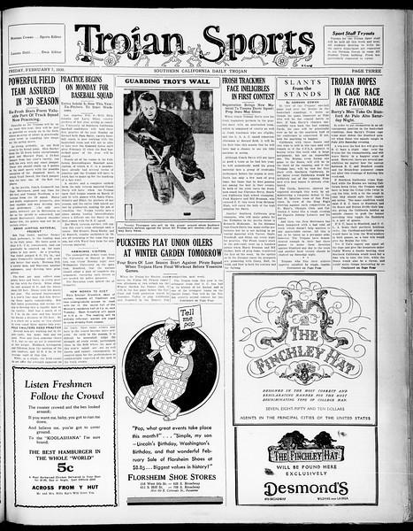 Southern California Daily Trojan, Vol. 21, No. 77, February 07, 1930