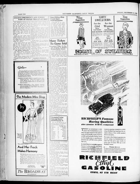 Southern California Daily Trojan, Vol. 21, No. 59, December 13, 1929
