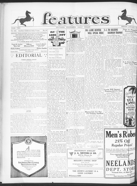 Daily Trojan, Vol. 20, No. 63, January 04, 1929