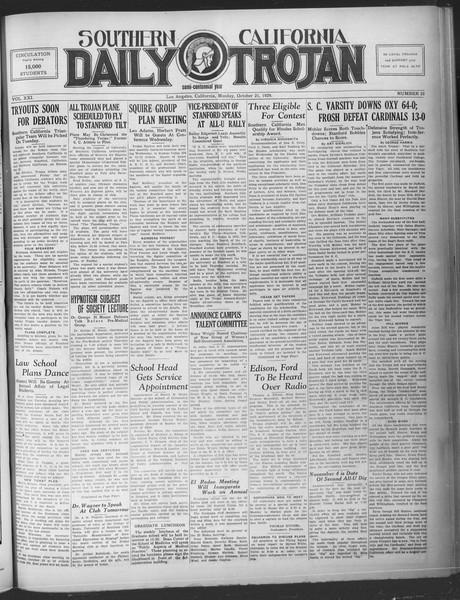Southern California Daily Trojan, Vol. 21, No. 25, October 21, 1929
