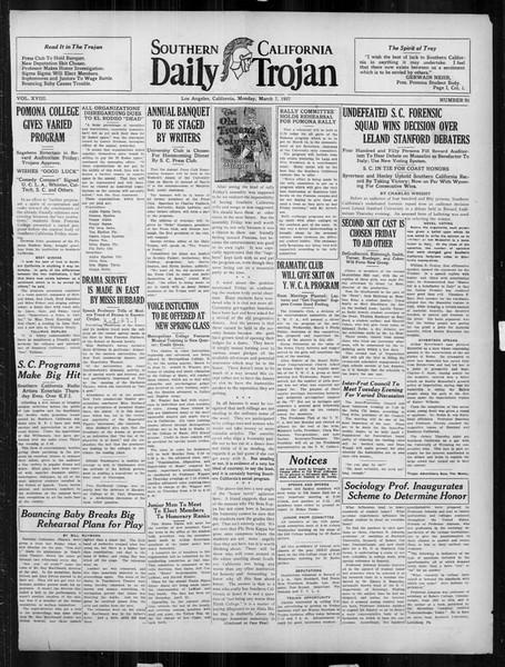 Daily Trojan, Vol. 18, No. 95, March 07, 1927