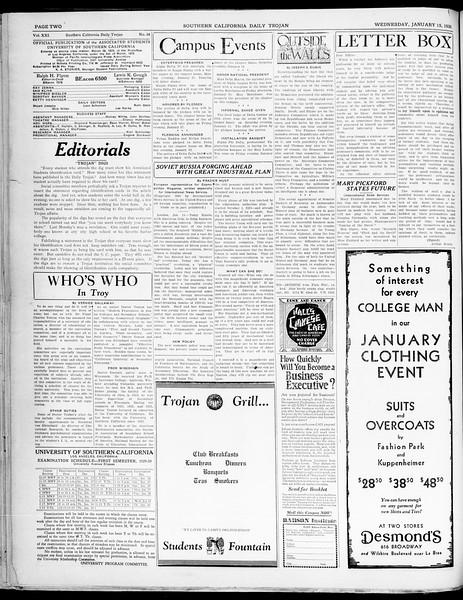 Southern California Daily Trojan, Vol. 21, No. 68, January 15, 1930