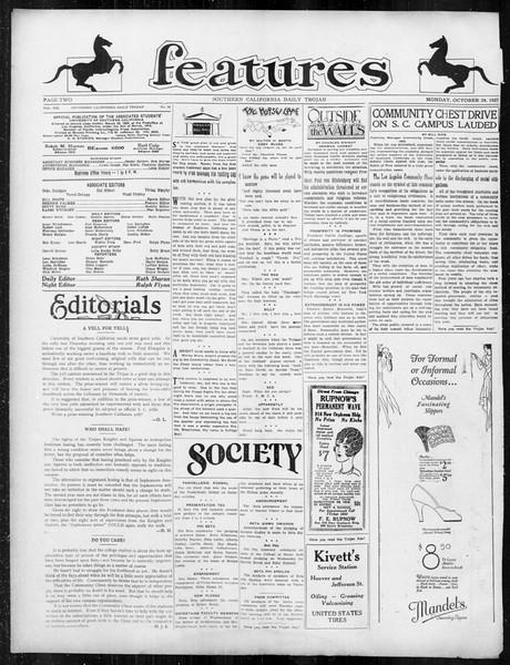 Daily Trojan, Vol. 19, No. 26, October 24, 1927