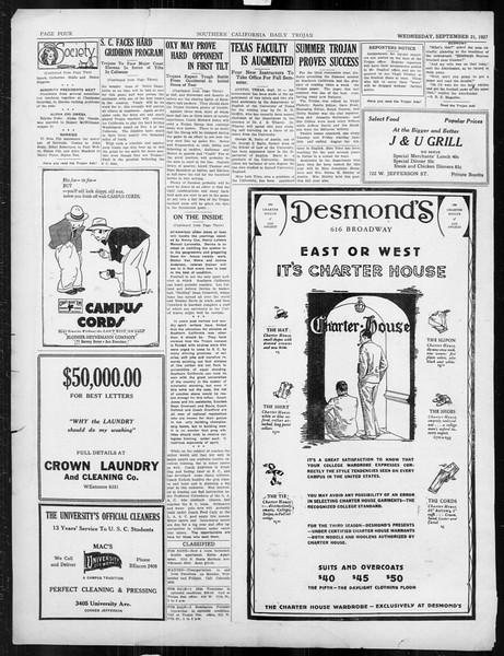 Daily Trojan, Vol. 19, No. 3, September 21, 1927