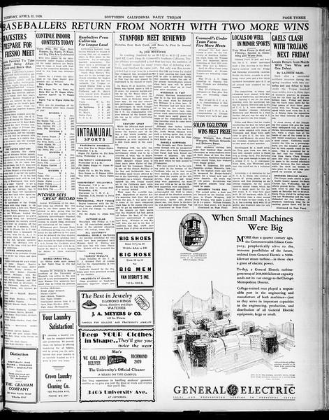 Southern California Daily Trojan, Vol. 21, No. 123, April 22, 1930